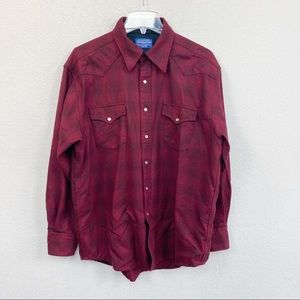 Pendleton Washable Wool Plaid Pearl Snap Button Up